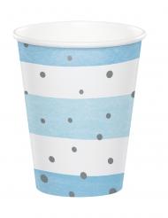 8 Gobelets en carton bleus et blancs pois argent 256 ml