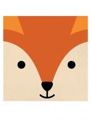 16 Serviettes en papier tête de renard 33 x 33 cm