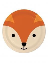 8 Assiettes en carton tête de renard 23 cm