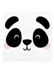 16 Serviettes en papier tête de panda 33 x 33 cm