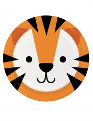 8 Assiettes en carton tête de tigre 23 cm