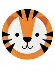 8 Petites assiettes en carton tête de tigre 18 cm