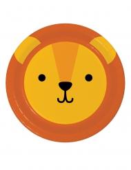 8 Petites assiettes en carton tête de lion 18 cm