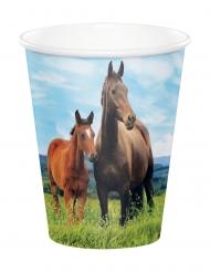8 Gobelets en carton Jolis chevaux 260 ml