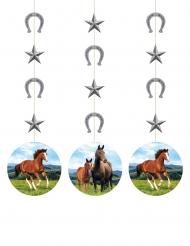 3 Suspensions en carton Jolis chevaux 57,2 cm