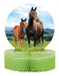 Centre de table en papier alvéolé Jolis chevaux 30,5 x 23 cm