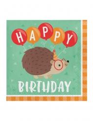 16 Serviettes en papier Happy Birthday Hérisson Party 33 x 33 cm