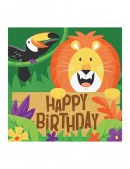16 Serviettes en papier Happy Birthday Jungle Safari 33 x 33 cm