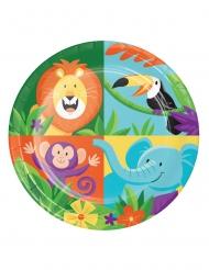 8 Petites assiettes en carton Jungle Safari 18 cm