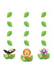 3 Suspensions en carton Jungle Safari 57 cm