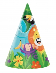 8 Chapeaux de fête Jungle Safari 16 x 11 cm