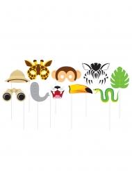 Kit photobooth Jungle Safari 10 accessoires