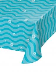 Nappe en plastique vagues et bulles bleues 137 x 259 cm
