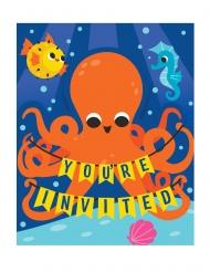 8 Cartes d'invitation Sous l'océan 20 x 20 cm