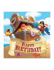 16 Serviettes en papier Happy Birthday Trésor de pirate 33 x 33 cm