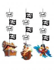 3 Suspensions en carton Trésor de pirate 57 cm