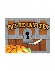 8 Cartes d'invitation avec enveloppes Trésor de pirate 11 x 11 cm