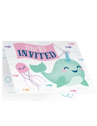8 Cartes d'invitation avec enveloppes Joyeux narval 13 x 10 cm