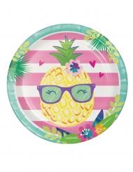 8 Assiettes en carton Flamingo Ananas Party 23 cm