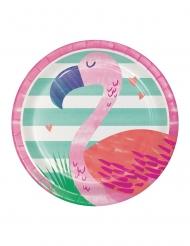 8 Petites assiettes en carton Flamingo Ananas Party 18 cm