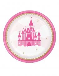 8 Assiettes en carton Château de princesse 23 cm