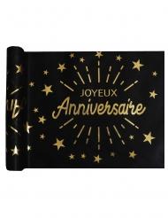 Chemin de table intissé anniversaire noir et or 5 m x 30 cm