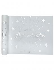 Chemin de table intissé anniversaire blanc et argent 5m x 30 cm