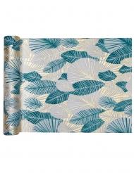 Chemin de table intissé feuillage tropical bleu 3 m x 30 cm