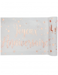 Chemin de table coton anniversaire rose gold 3m x 28 cm