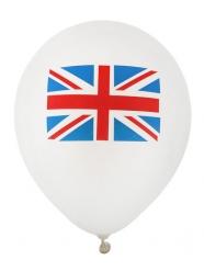 8 Ballons latex drapeau Royaume Uni 23 cm