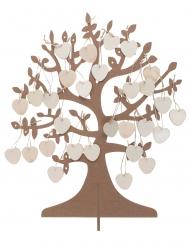 Arbre à vœux en bois avec 50 cœurs mariage 48 x 40 cm