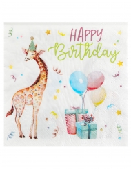 20 Serviettes papier zoo party 33 x 33 cm