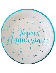10 Assiettes carton Joyeux anniversaire turquoise 22,5 cm