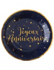10 Assiettes carton Joyeux anniversaire bleu marine 22,5 cm