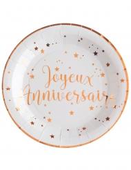 10 Assiettes carton Joyeux anniversaire rose gold 22,5 cm