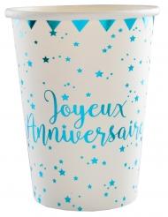 10 Gobelets carton Joyeux anniversaire turquoise 7,8 x 9,7 cm