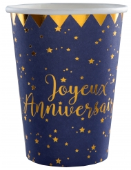 10 Gobelets carton Joyeux anniversaire bleu marine 7,8 x 9,7 cm