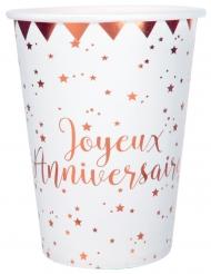 10 Gobelets carton Joyeux anniversaire rose gold 7,8 x 9,7 cm