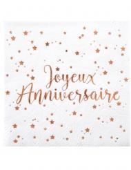 20 Serviettes papier Joyeux anniversaire rose gold 33 x 33 cm