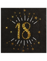 10 Serviettes papier Joyeux anniversaire 18 noir et or 33 x 33 cm
