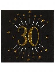 10 Serviettes papier Joyeux anniversaire 30 noir et or 18 33 x 33 cm