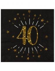 10 Serviettes papier Joyeux anniversaire 40 noir et or 18 33 x 33 cm