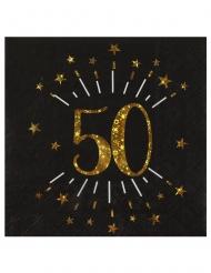10 Serviettes papier Joyeux anniversaire 50 noir et or 18 33 x 33 cm