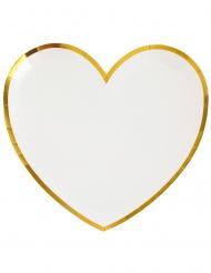 10 Assiettes carton cœur blanc et or 22,5 x 20 cm