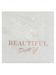 20 Serviettes papier beautiful day rose gold 25 x 25 cm