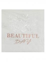 20 Serviettes papier beautiful day rose gold 25 x 25 cm