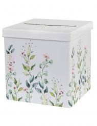 Urne de mariage en carton motif végétal 20 x 20 x 20 cm