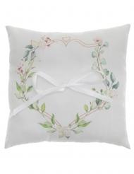 Coussin d'alliances mariage motif végétal 18 x 18 cm