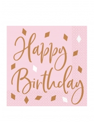 16 Serviettes en papier Happy Birthday roses confettis rose gold 33 x 33 cm