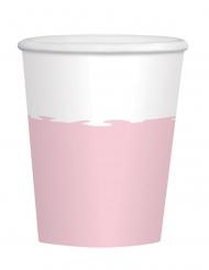 8 Gobelets en carton roses et blancs 250 ml